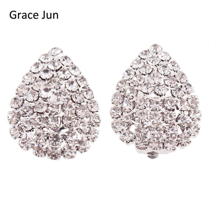 Grace Jun Svatební drahokamu křišťál velký Waterdrop klip náušnice bez piercingu pro ženy Módní svatební šperky vysoké kvality