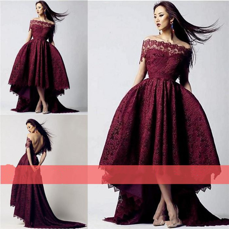 b979c83e6dc 2018 Burgundy Lace Plus Size Party Dresses Arabic Dubai Formal Occasion  High Low Off the Shoulder Mother of the Bride Dresses -in Mother of the  Bride ...