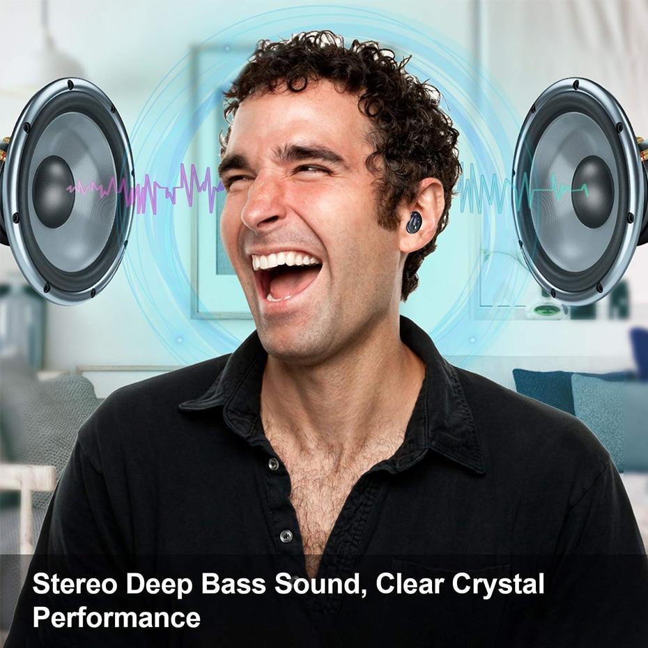 Mini Auricolari Bluetooth Super Bass Suono V5.0 TWS Auricolari Senza Fili di Sport a Mani Libere Cuffie Per Samsung iPhone Xiaomi - 6