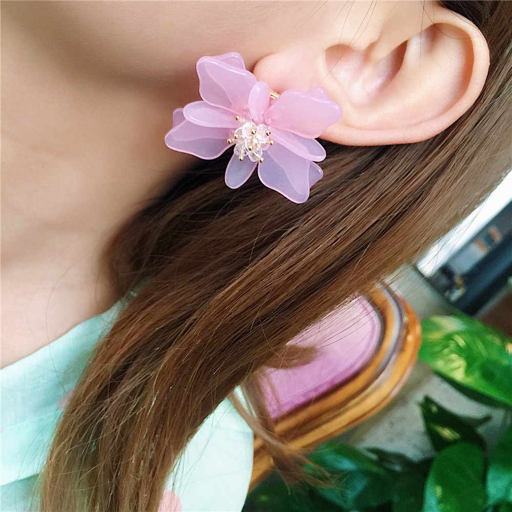 kendra boho large flower earrings water jewelry trendy item rose yellow leather spring drop printed long