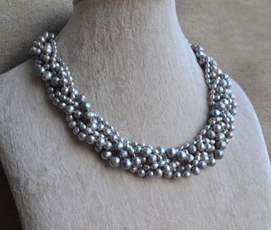 Handmade Real Pearl Jewellery,Gray Color 5 Rows 20 inches 3-8mm Natural Freshwater Pearl Necklace,Fashion Women Jewelry