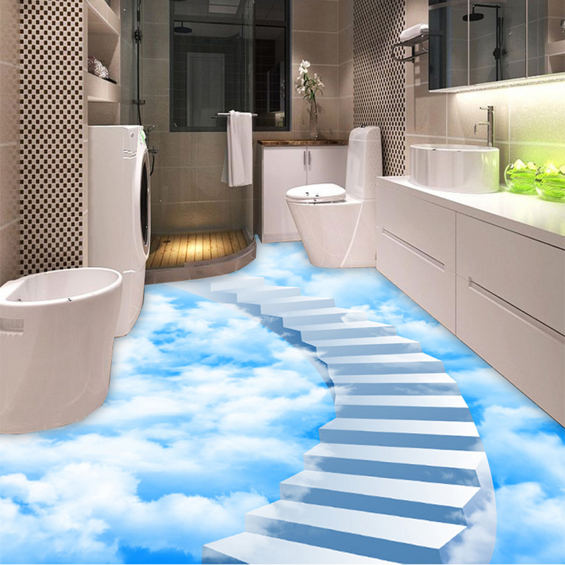custom self adhesive floor mural wallpaper 3d creative clouds step floor tiles painting sticker. Black Bedroom Furniture Sets. Home Design Ideas