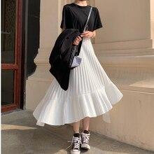 Осень, Новое поступление, Корейская Асимметричная юбка, милая плиссированная шифоновая юбка, Faldas Largas Elegantes, черные юбки