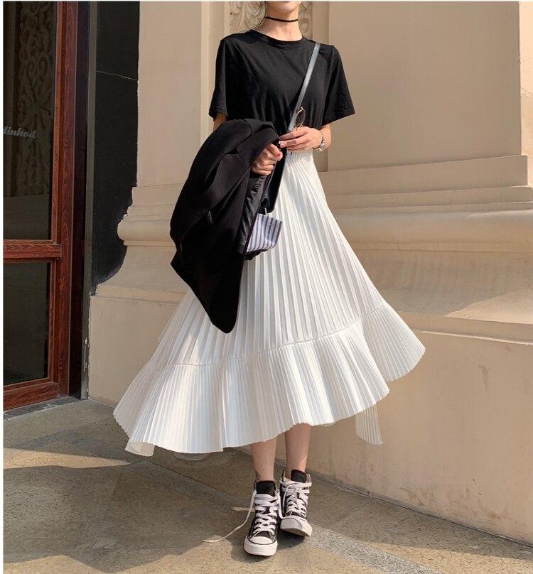2019 outono nova chegada coreano saia irregular doce plissado chiffon saia faldas largas elegantes saias pretas frete grátis