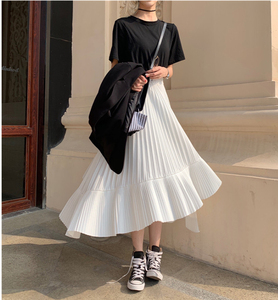 Image 1 - 2020 סתיו חדש הגעה קוריאנית סדיר חצאית מתוק קפלים שיפון חצאית Faldas Largas Elegantes שחור חצאיות משלוח חינם