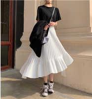 2020 automne nouveauté coréen irrégulière jupe douce plissée en mousseline de soie jupe Faldas Largas Elegantes noir jupes livraison gratuite