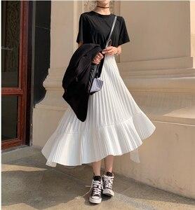 Image 1 - 2020 jesień nowy nabytek koreańska nieregularna spódnica słodki plisowany szyfon spódnica Faldas Largas Elegantes czarne spódnice darmowa wysyłka