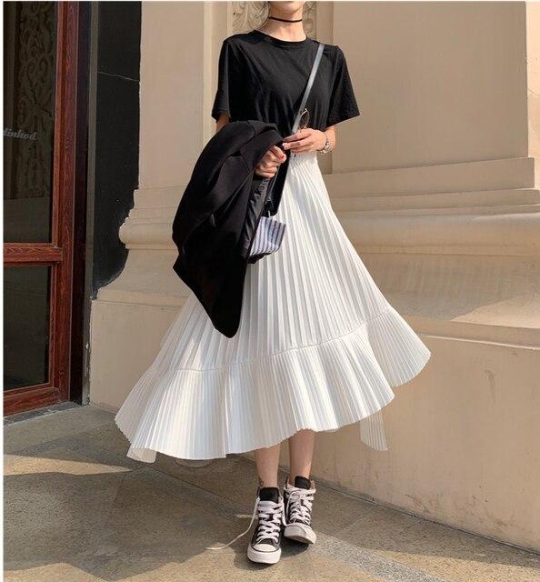2020 jesień nowy nabytek koreańska nieregularna spódnica słodki plisowany szyfon spódnica Faldas Largas Elegantes czarne spódnice darmowa wysyłka