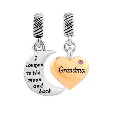 Fit Pandora charm bracelets Heart Moon Grandma July Birthstone I Love You To The And Back Murano Glass beads for jewelry making