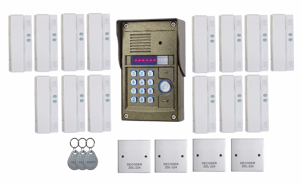 ZHUDELE327R 2 wires audio Door Bell intercom door phone for 14 apartments, RFID panel audio door phone