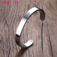 Granny Chic Hotsale Silver High Polished 8/6mm Stainless Steel Fashion Half Cuff Bracelet Bangle For Men Women's Jewelry