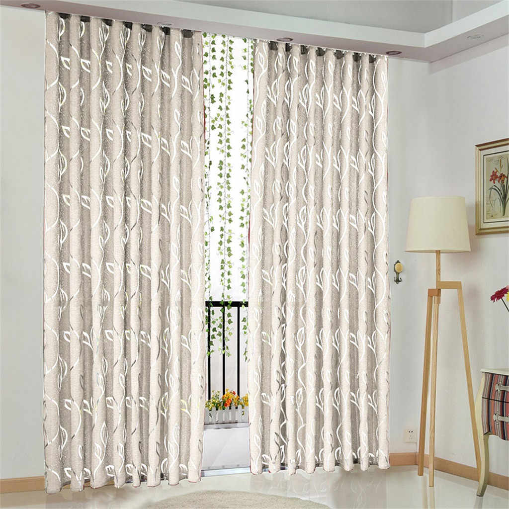 1 PCS Vines Leaves Tulle Door Window curtains for living room Drape Panel Sheer Scarf Valances curtains for bedroom