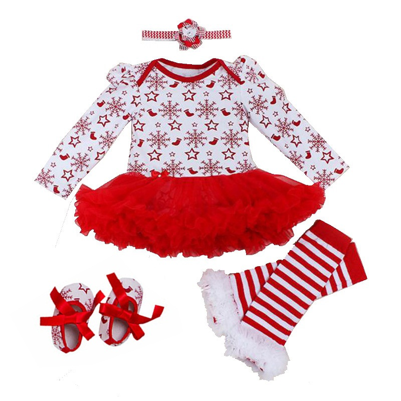 Snowflake Baby Christmas Costumes for Kids Girl Romper Dress Headband Leg Warmers Crib Shoes Bebe Toddler Girl Party Outfit Gift
