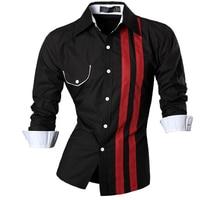 Men Shirt Luxury Brand 2017 Male Long Sleeve Shirts Casual Striped False Pocket Slim Fit Dress