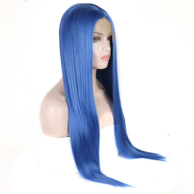 Bombshell Light Blue Silky Straight Synthetic Lace Front Wigs Glueless Heat Resistant Fiber Natural Hairline For