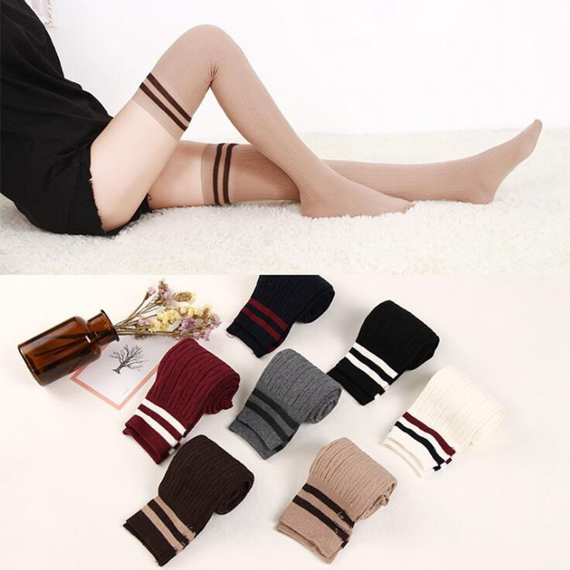 Women High Over The Knee Socks Thigh High Stockings Opaque Warm Japanese School Student Stripe Long Sock For Girls Ladies Women