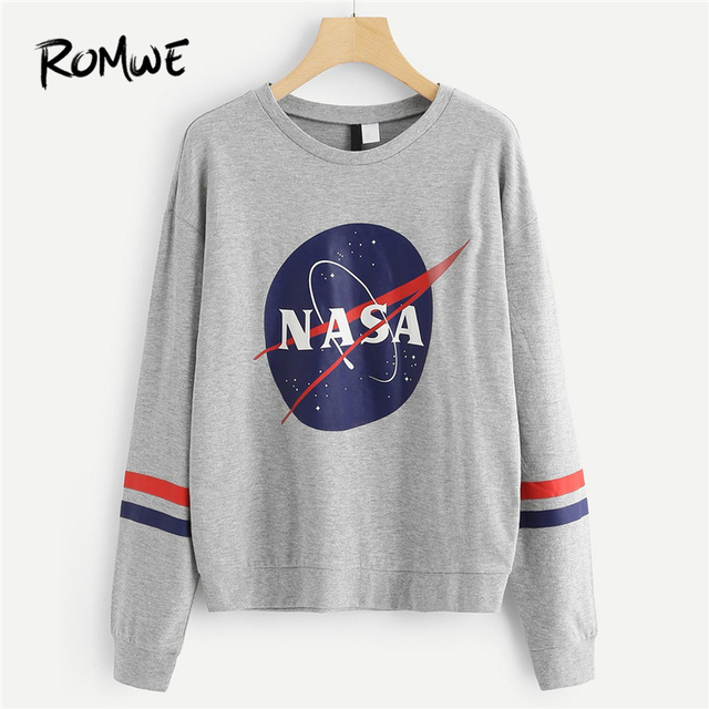 ed0d6c950502 ROMWE Grey Striped Side Letter Print Sweatshirt Women Casual Autumn ...