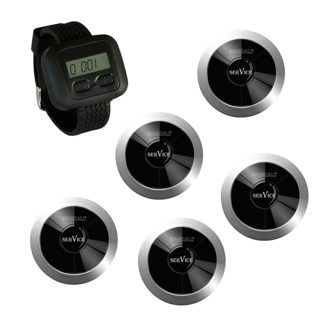 SINGCALL Wireless Restaurant Calling System, 1 watch receiver and 5 service call button,APE310, waterproof pager wireless waiter call system top sales restaurant service 433 92mhz service bell for a restaurant ce 1 watch 10 call button