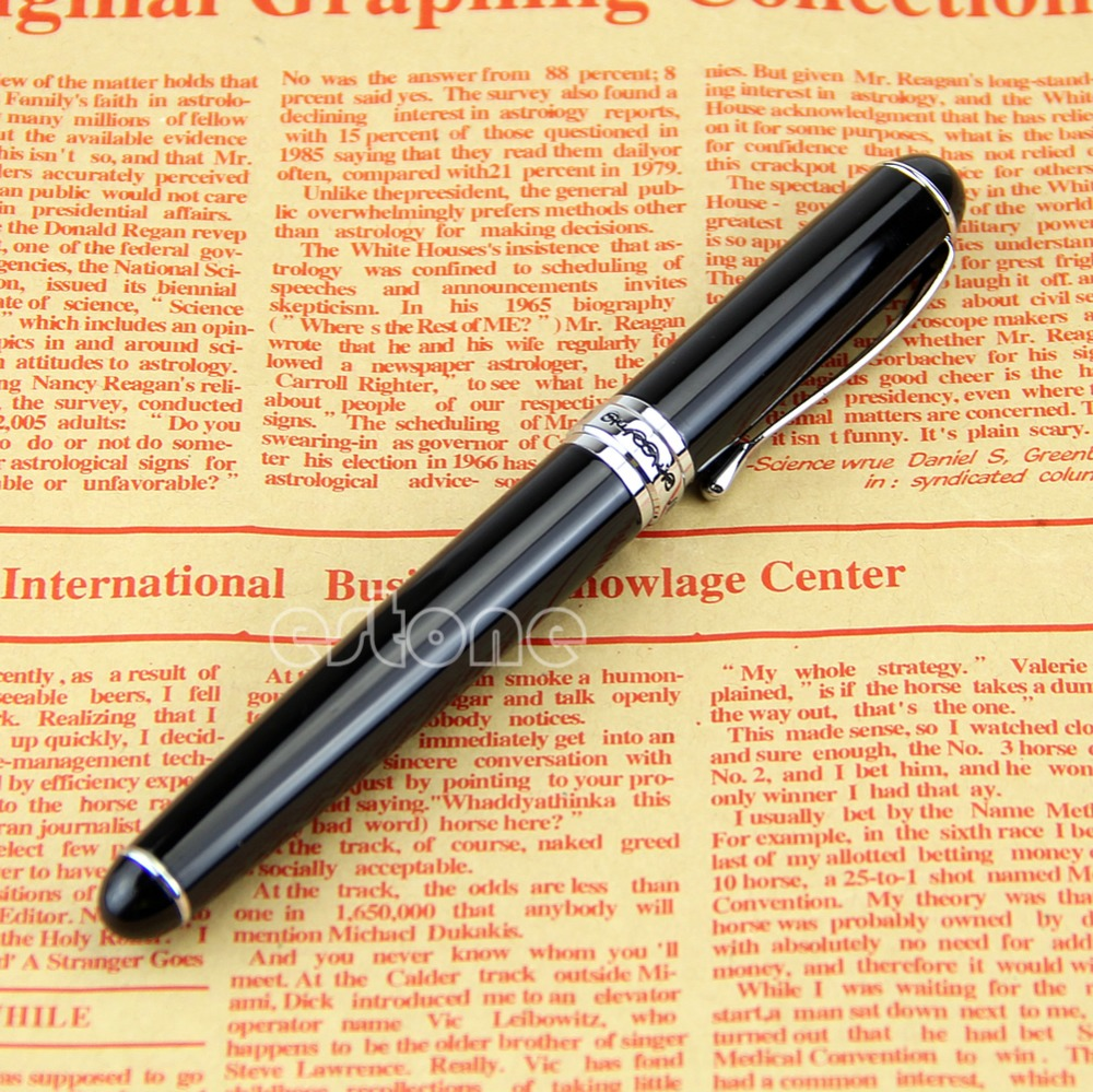 New Jinhao X750 Deluxe Black Medium Nib 18kgp Fountain Pen Hot  Black 18kgp Fountain Pen jinhao business gifts writing ink pen black with old grey snake wind medium 18kgp nib 3d metal fountain pen