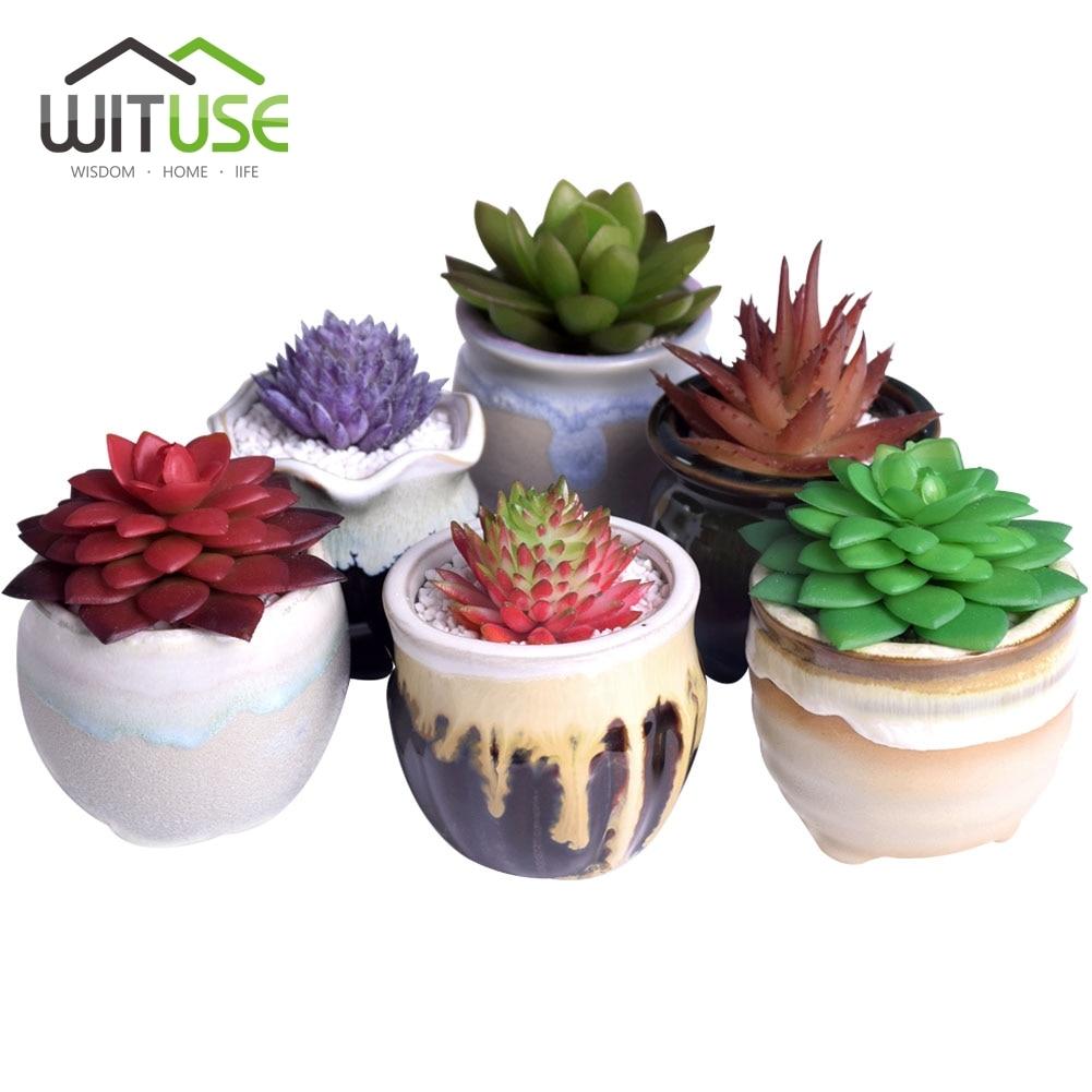 WITUSE 6Pcs/Lot Flower Pot Chinese Galzed Ceramic Succulent Mini Bonsai Plant Pots Lovely Planter for Garden Home Office Decor