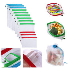12pcs Reusable Shopping Bags mesh Market Bags Eco Friendly Bags Shopping Vegetable Fruit Toys Storage Bags 3 Size A30