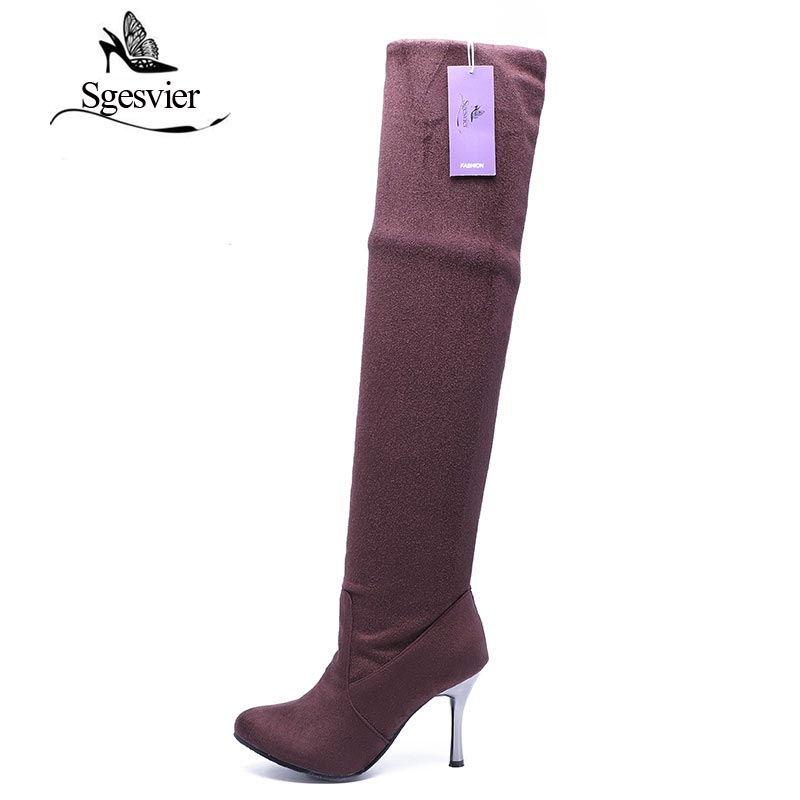 SGESVIER High Heels Women Boots Over the Knee High Boots Party Sexy Lady Fashion Winter Woman Shoes Botas Big Size 34-43 AA235 nasipal 2017 new women pu sexy fashion over the knee boots sexy thin high heel boots platform woman shoes big size 34 43 g804