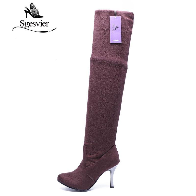 Sgesvier Женские ботинки на высоких каблуках; Высокие Сапоги выше колена пикантная модная зимняя женская обувь ботинки большого размера 34-43 aa235
