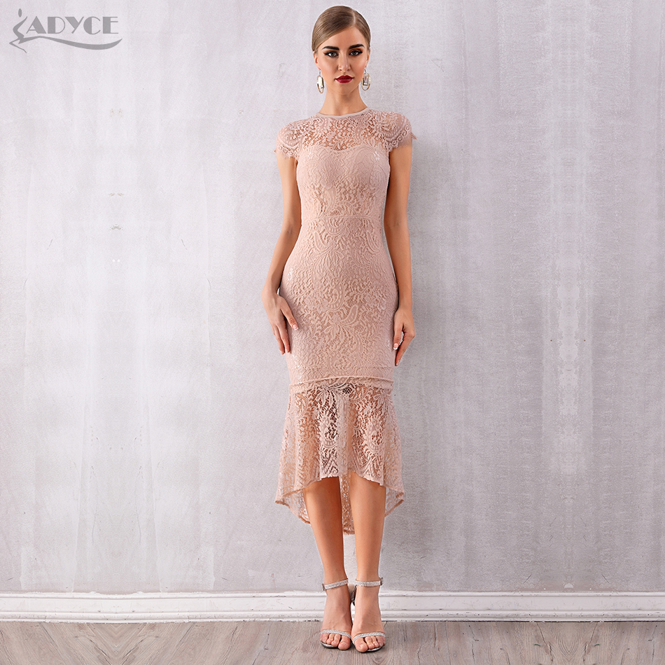 2798db56ebd ADYCE 2019 New Summer Women Bandage Dress Vestidos Sexy Sleeveless Lace Midi  Mermaid Bodycon Club Dresses Celebrity Party Dress