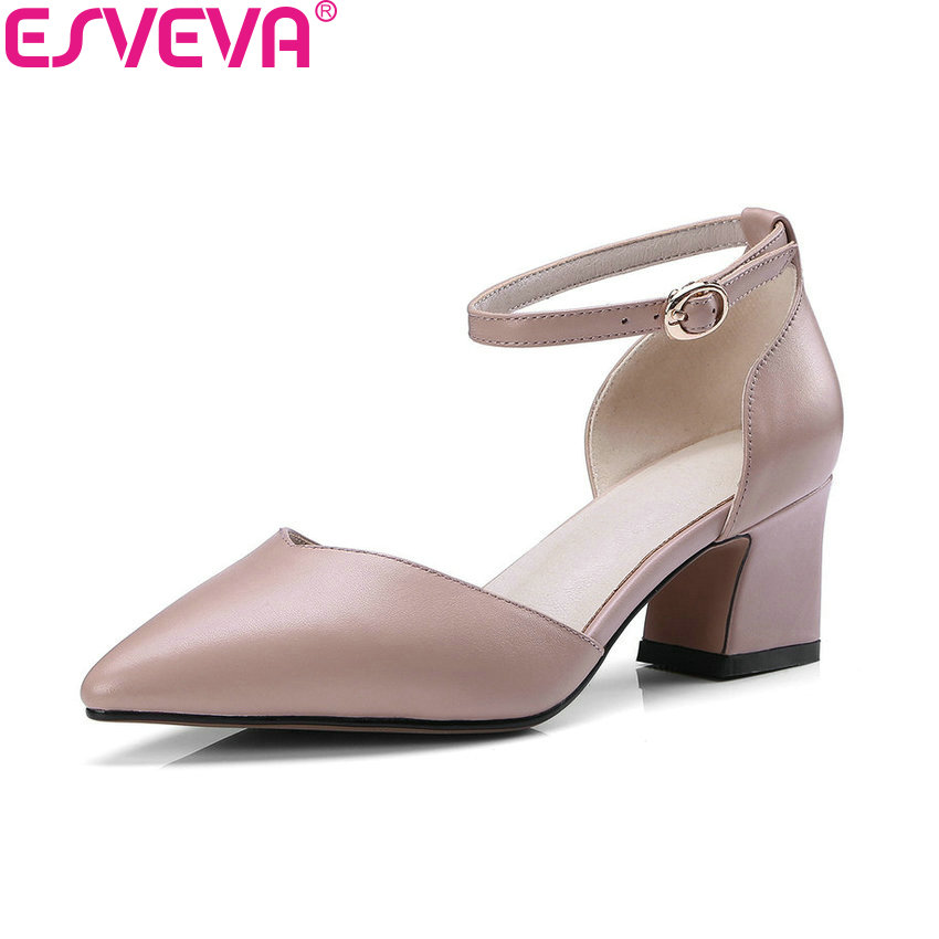 ESVEVA 2018 Women Pumps Square High Heels Spring and Autumn Cow Leather PU Pointed Toe Buckle Strap Pumps Women Shoes Size 34-39 moraima snc luxurious women pumps shallow high heels pointed toe flower pu leather ankle strap buckle party women pumps