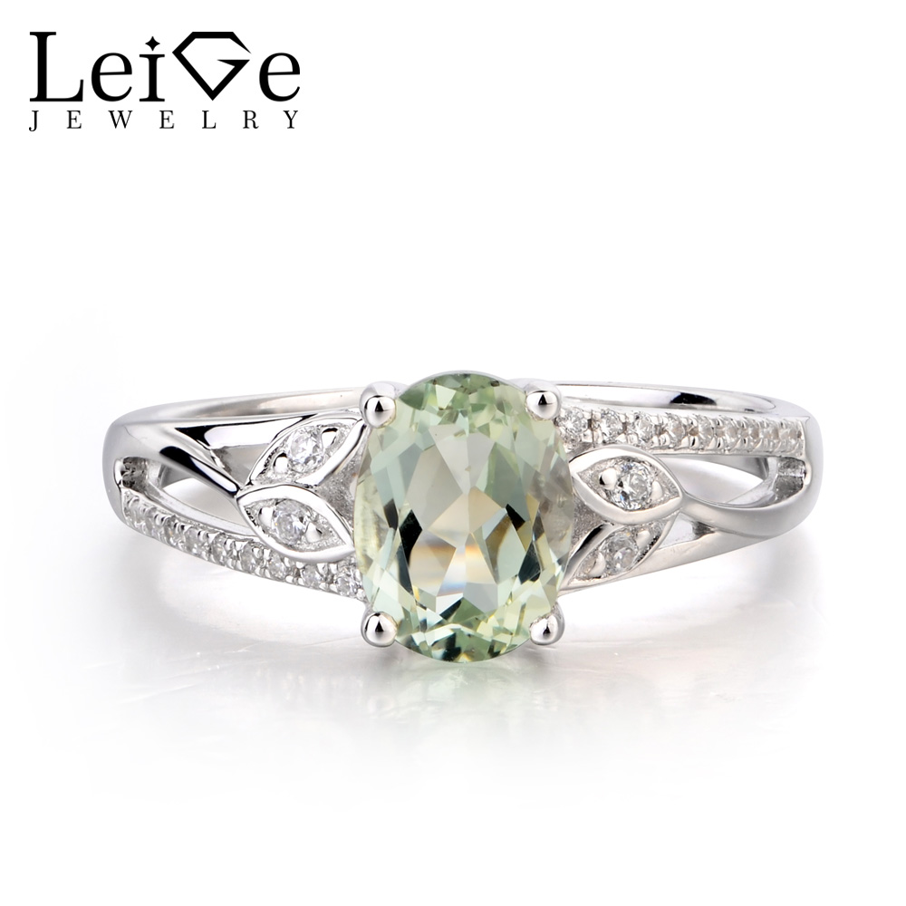 купить Leige Jewelry Natural Green Amethyst Ring Proposal Ring Oval Cut Green Gemstone 925 Sterling Silver Romantic Gifts for Women по цене 6323.77 рублей