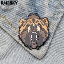 DMLSKY Cool Bear Metal Enamel Pin Brooches Cartoon Creative Brooch Pins Hat Badge Collar Jewelry M3262