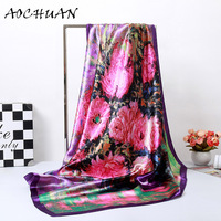 2017 New Design Brand Print Silk Scarf Printed Hot Sale Women Satin Silk Scarves Wraps Spring
