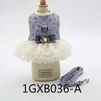 Floral Harness For Dogs Of Small Breeds White Black Blue Princess Wedding Pet Cats Dresses Collar