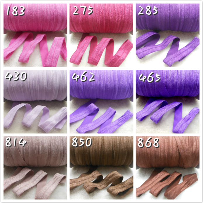 5/8 16mm/1.5cm 50 Yards/Roll Solid Plain Purple Brown Color Fold Over Elastic Headbands Hair Tie Ponytail 52 Colors In Stock