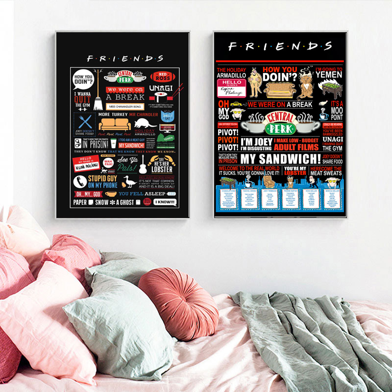 Image 3 - Friends TV Show Quotes HD Wallpaper Minimalist Wall Art Canvas Posters Prints Painting Wall Pictures Bedroom Home Decor Artwork-in Painting & Calligraphy from Home & Garden