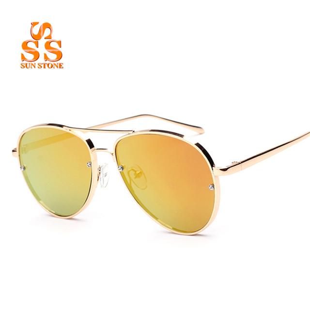 SUNSTONE High-end Designer de Moda óculos de Sol Reflexivos & Caixa de Frame Da Liga Dos Homens Das Mulheres Do Vintage de Condução Compras Sol Antolhos SB70