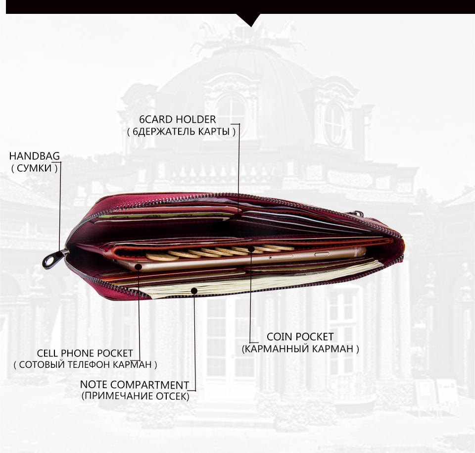Genuine Leather Fashion Long Clutch Big Capacity Women's Wallet