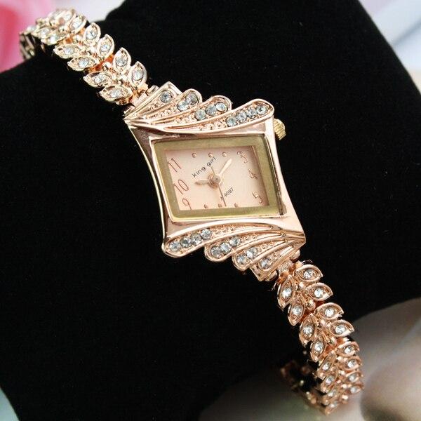 Gold Crystal Rhinestone Leaf buds strap Dress ladies Watch Stylish Women Watches