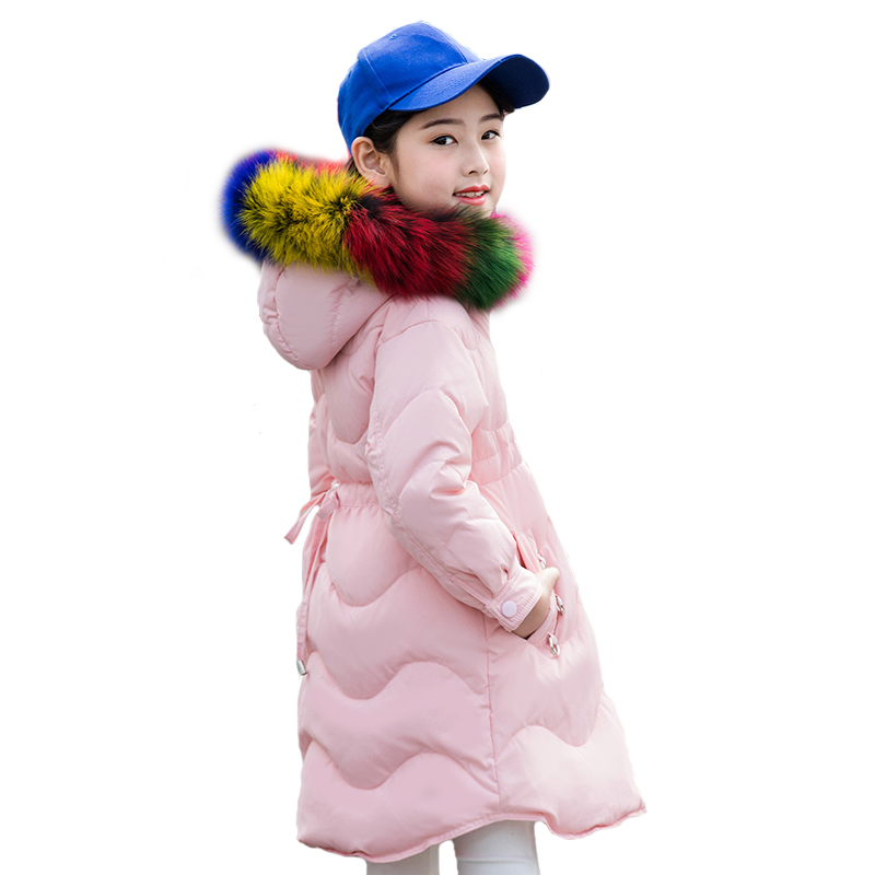 Winter Girls Thick Warm Cotton-Padded Colorful Fur Collar Down Jacket For Teenage Child School Keep Warm Snow Hooded Clothes winter jacket female parkas hooded fur collar long down cotton jacket thicken warm cotton padded women coat plus size 3xl k450