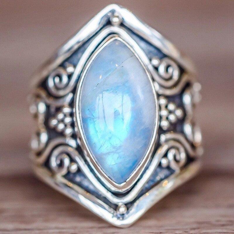 Vintage Tibetan Silver Big Healing Crystal Rings For Women ...