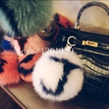 customized letters real fur  karl pompom monster bag bugs key chain car bag pendant Accessories New Genuine leather chain