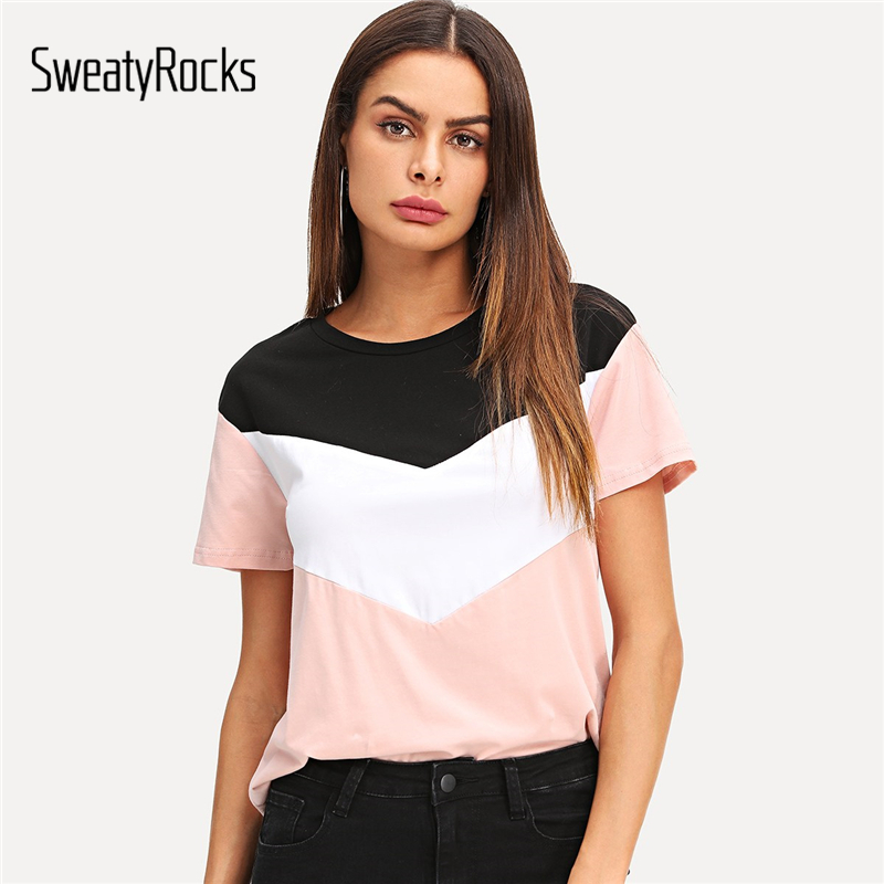 SweatyRocks Colorblock Short Sleeve T-shirt Streetwear O-Neck Fashion Tees 2019 Summer Casual Women Stretchy Pullovers Tops