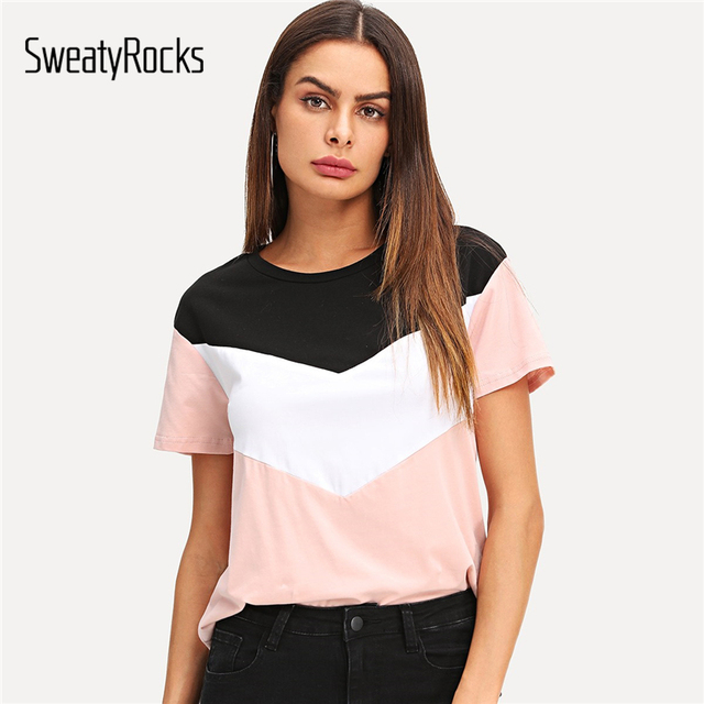 SweatyRocks Colorblock koszulka z krótkim rękawem Streetwear O-Neck moda koszulki 2019 lato na co dzień kobiety elastyczna swetry topy