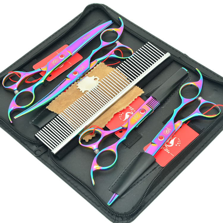 Meisha 7 polegada Profissional Pet Grooming Scissors Set Japão 440c Tesouras de Desbaste para Ferramentas de Cabeleireiro Corte de Cabelo Cães HB0099