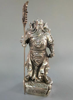 Chinese white copper guan gong crafts statue