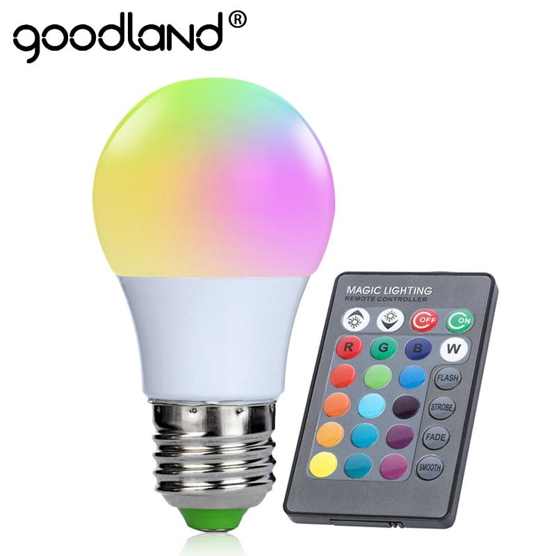 Goodland E27 RGB Lamp 3W LED RGB Bulb 220V 110V RGB Light 16 Color 24 key IR Remote Control Ampoule for Living Room Decoration e27 7w rgb led bulb lamp light 16 color ac85v 265v ir remote