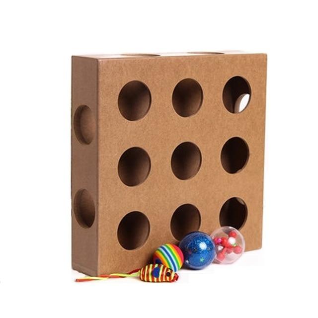 Gato Interativo Brinquedo De Madeira Quadrado Caixa de Gato de Estimação Brinquedo Exercício Intelectual com Bola