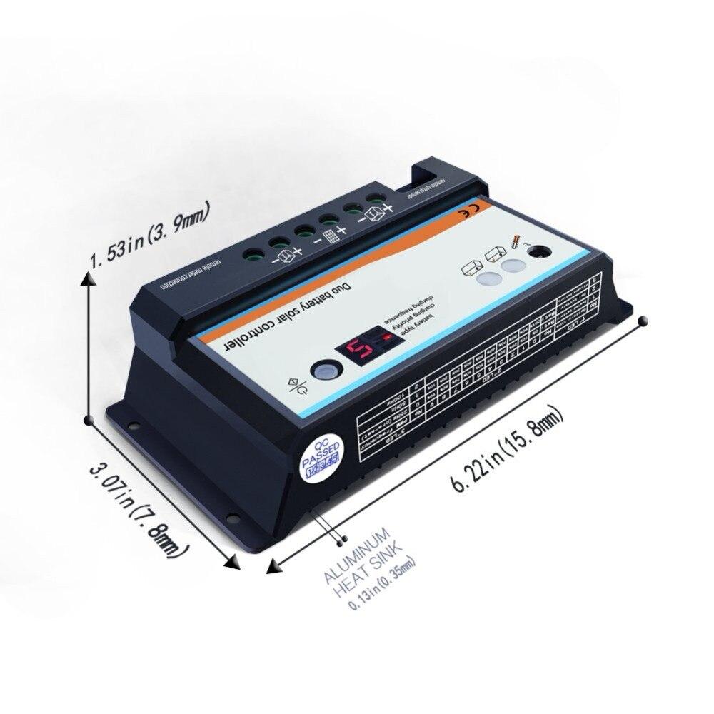10A Dual Battery Solar Laderegler  Use RVs Caravans Bus+Remote Meter MT1