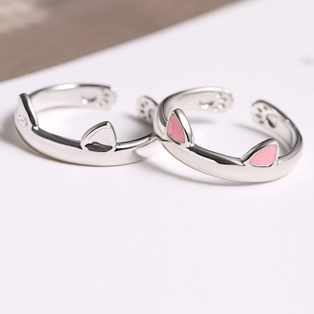 Cute Pink Cat Ear Adjustable Ring Silver Copper Material For Women Young Girl Gi