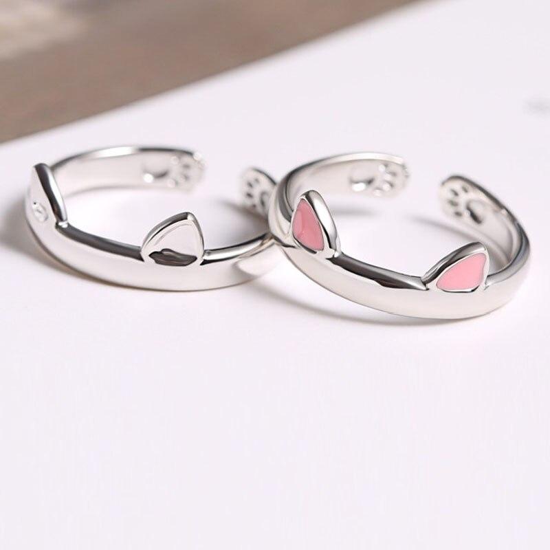Cute Pink Cat Ear Ring White Copper Design Popular s